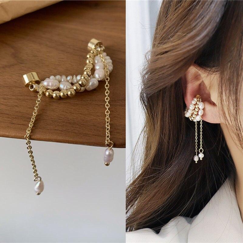 Korea Pearl Tassels Magnet Clip Earrings for Women Charm Freshwater Pearl Climber Cuff Earring Clip on Ear Jewelry Accessories