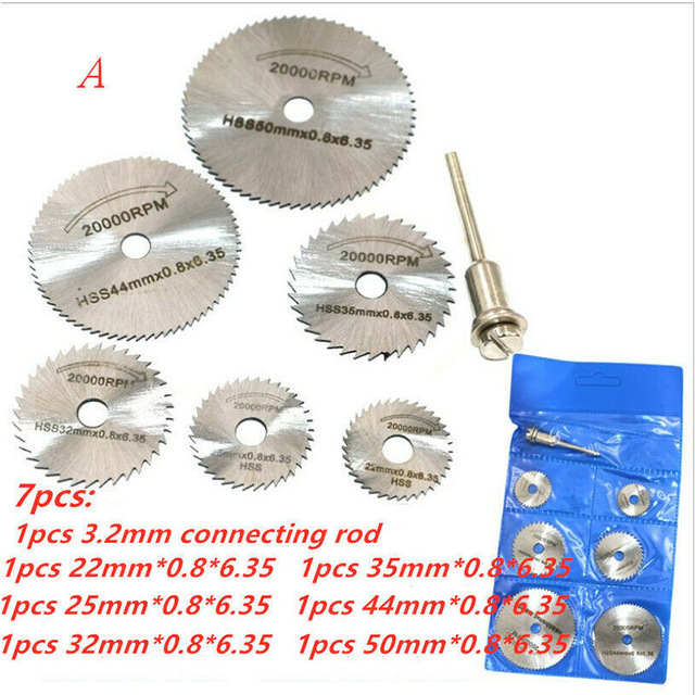 7PC/Set Disc Drill Cutters High Speed Steel Circular Saw Accessories for Wooden PVC Metal Accessories Tool Set Disks  Drill 5
