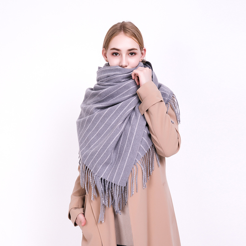 Europe And The United States Autumn And Winter New Imitation Cashmere Scarf Women Warm Fashion Neck Plus Thick Striped Shawl