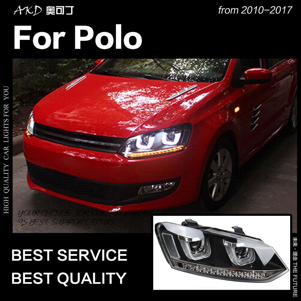 AKD estilo de coche para VW Polo faros 2010-2017 Polo LED faros de LED Drl escondió la cabeza de la lámpara Ojo de Ángel Bi Xenon Beam