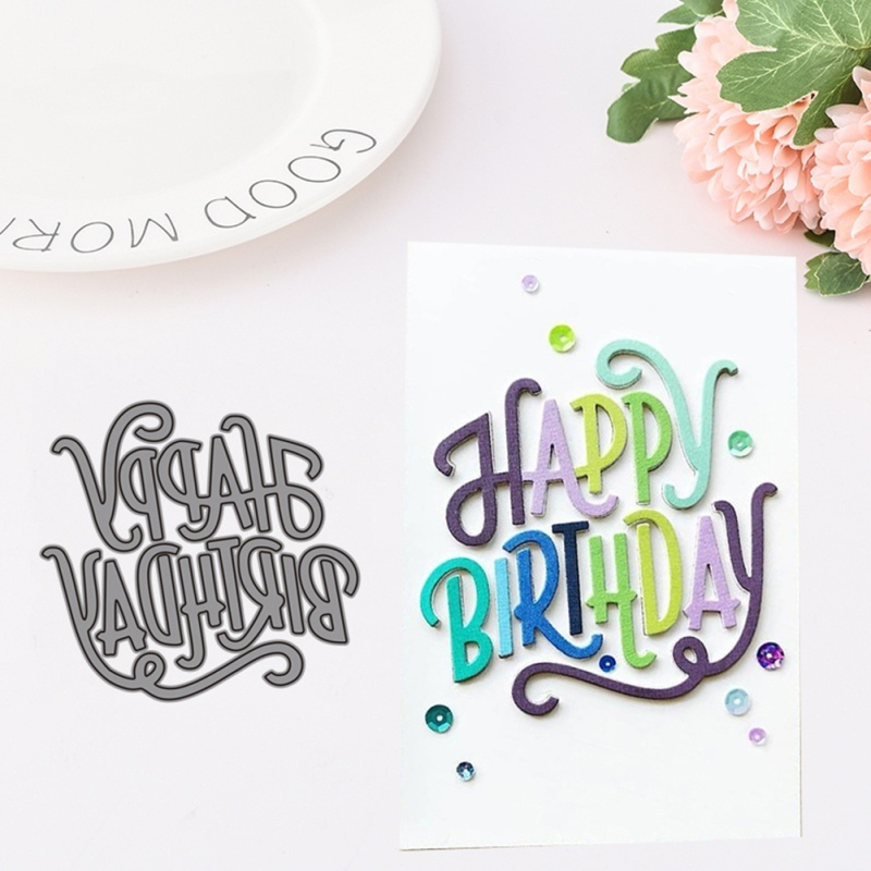 Happy Birthday Letter Embossing Cutting Dies DIY Scrapbooking Stencils