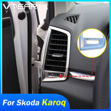 Vtear For Skoda Karoq Interior Chrome Front Air Condition Outlet Vent Moldings Cover Cap Trim Frame Accessories Car-styling Auto