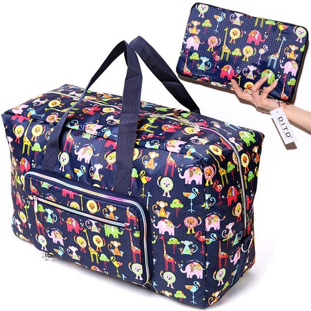 折りたたみ旅行バッグ女性の大容量ポータブルショルダーダッフルバッグ漫画の印刷防水週末荷物トート卸売