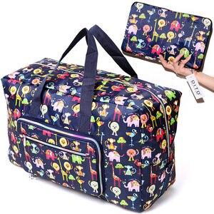 Image 1 - Sac de voyage pliable femmes grande capacité Portable sac à bandoulière dessin animé impression étanche week end bagages fourre tout en gros