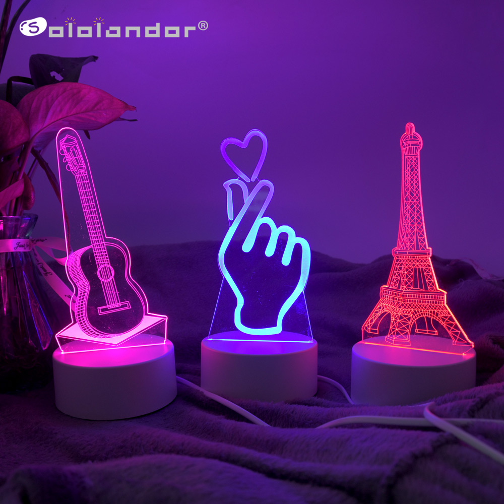 2019 Newest LED Lamp Creative 3D LED Night Lights Novelty Illusion Night Lamp 3D Illusion Table Lamp For Home Decorative Light