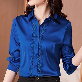 Camisas coreanas De seda para Mujer, Blusas De satén, Blusas elegantes De oficina para Mujer, Blusas De manga larga, camisa De encaje, Blusas De talla grande para Mujer De Moda