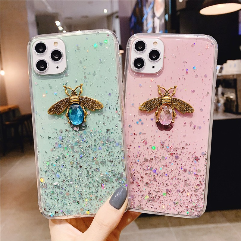 Luxury 3D Diamond Bee Glitter Silicone Soft Phone Case For <font><b>Xiaomi</b></font> <font><b>Redmi</b></font> GO Pyo 4X 5A <font><b>6</b></font> 7 7A Note 4 5 <font><b>6</b></font> 7 8 Note4 note8 Pro Cover image