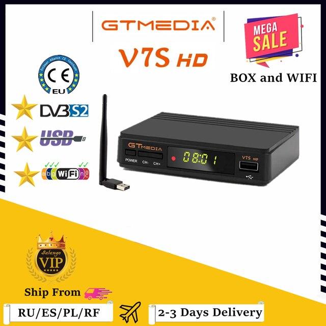 Gtmedia v7s hd completo receptor de satélite DVB S2 decodificador de tv + usb wifi atualização por freesat v7 tv receptor caixa de tv sat nenhum aplicativo incluído