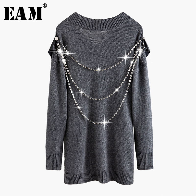 [EAM] Gray Tassels Big Size Knitting Sweater Loose Fit V-Neck Long Sleeve Women Pullovers New Fashion Tide Spring 2020 1N079