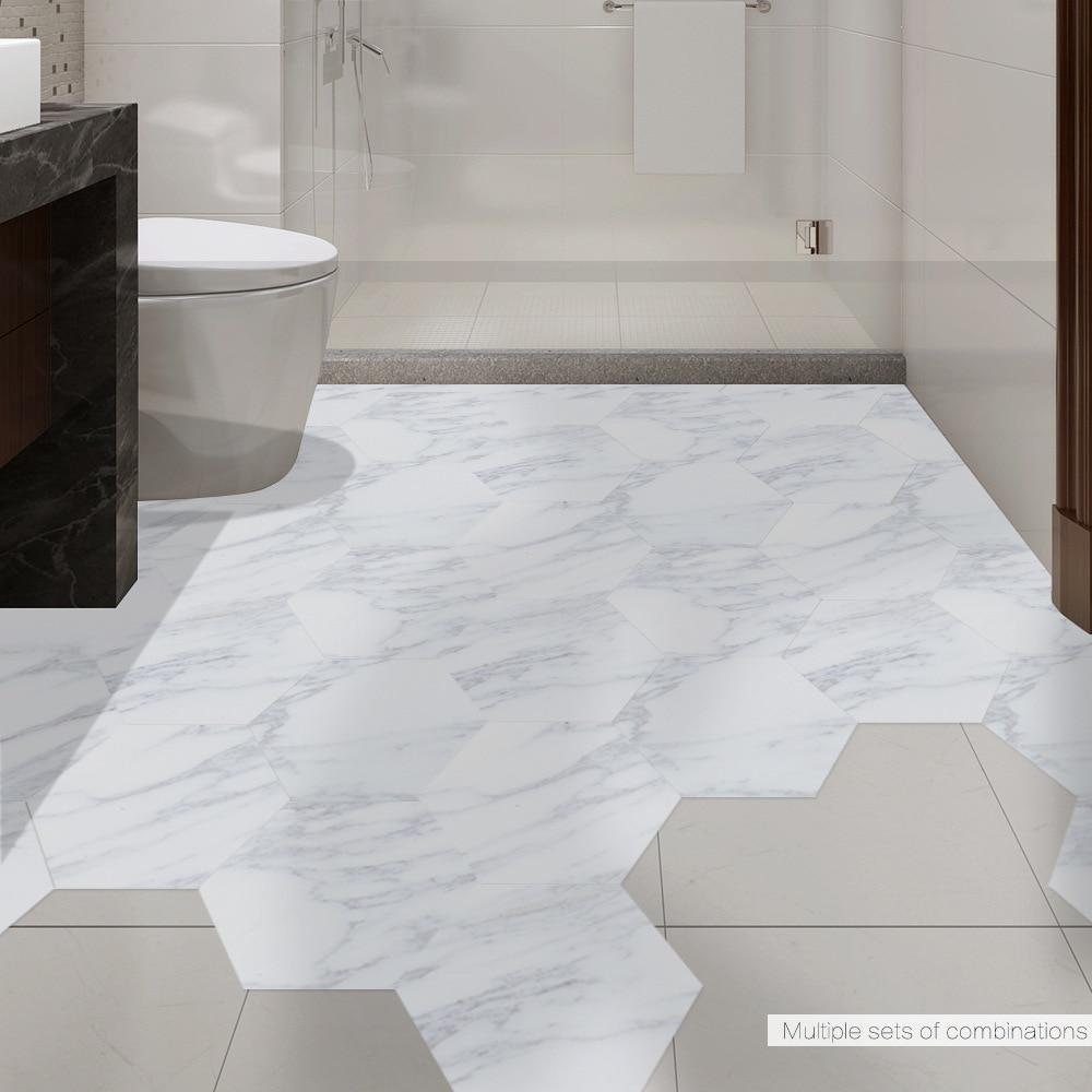 funlife autocollant de carrelage pour salle de bain impermeable sol auto adhesif en vinyle pvc marbre decor antiderapant entree de la maison