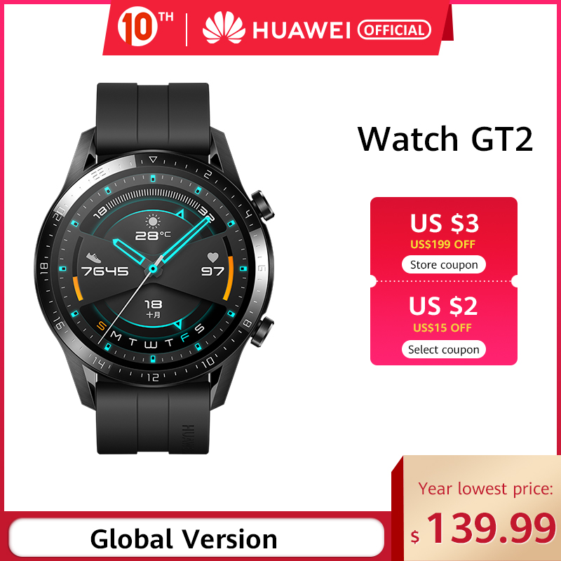 In Stock Global Version <font><b>HUAWEI</b></font> <font><b>Watch</b></font> <font><b>GT</b></font> <font><b>2</b></font> GT2 GPS 14 Days Working Waterproof Phone Smart Call Heart Rate Tracker For Android iOS image
