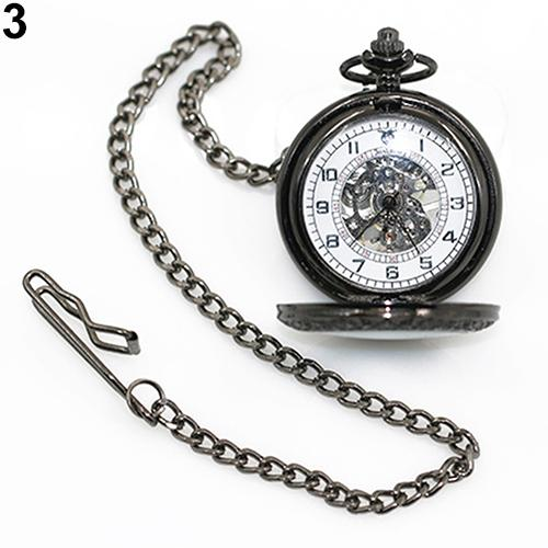 Unisex Vintage Large Window Mechanical Pocket Watch Arabic Numbers Retro Style Bronze Mechanical Men Women Pocket Watch Gift