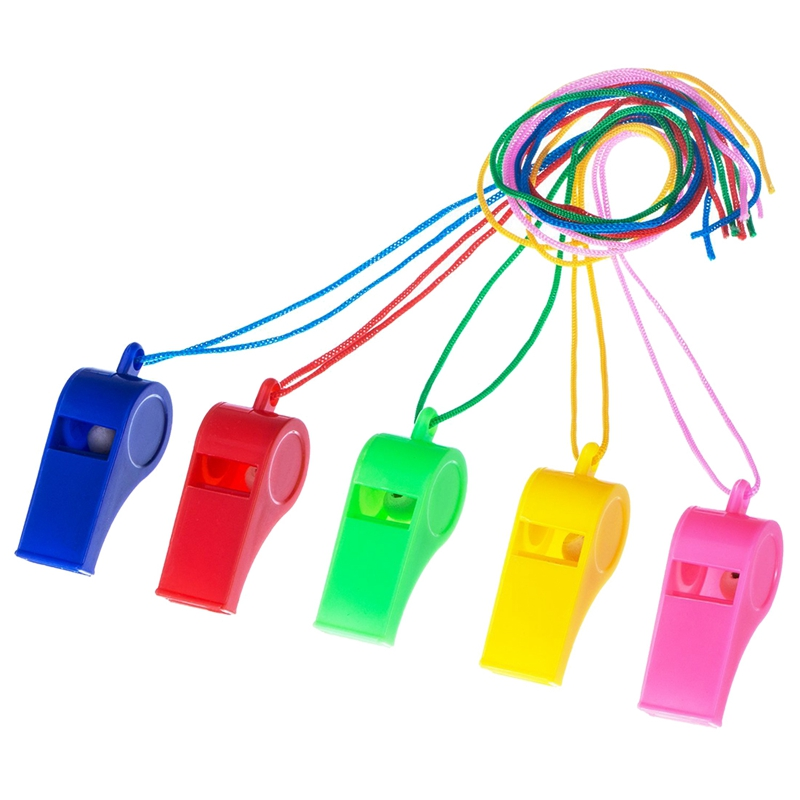 NEW-40 Pieces Plastic Whistles With Lanyards For Party Sports, 5 Colors