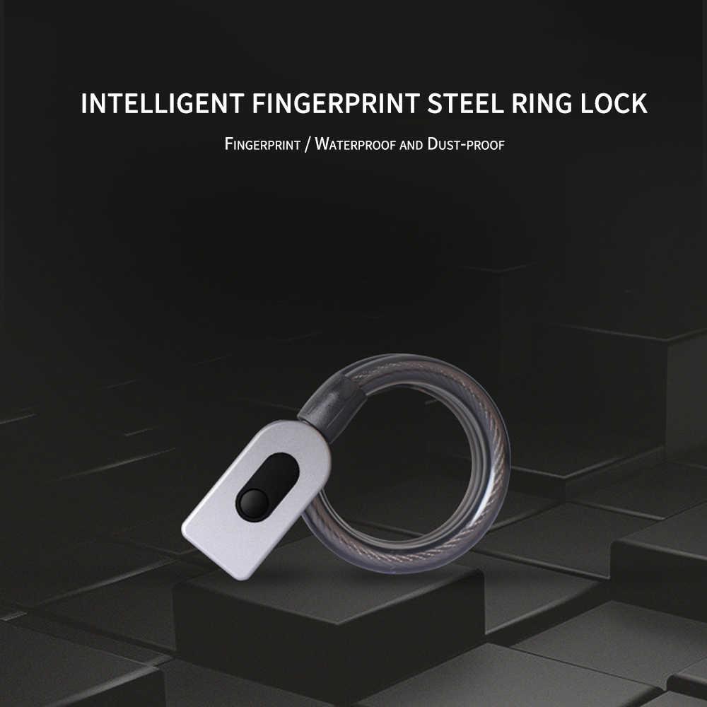 טביעת אצבע אינטליגנטי פלדת טבעת מנעול אופניים נגד גניבת מנעול כביש רכב פלדת מנעול כבל שחור GQ10F