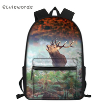 ELVISWORDS Fashion Childrens Canvas Backpack Cartoon Deer Pattern Students Book Bags Girls Multi-functional Travel Backpacks