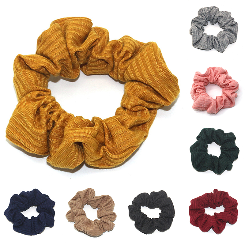 Soft Cotton Elastic Hair Bands Ribbed Scrunchie Hair Ties Simple Solid Color Yellow Pink Black   Headwear   Women Hair Accessories