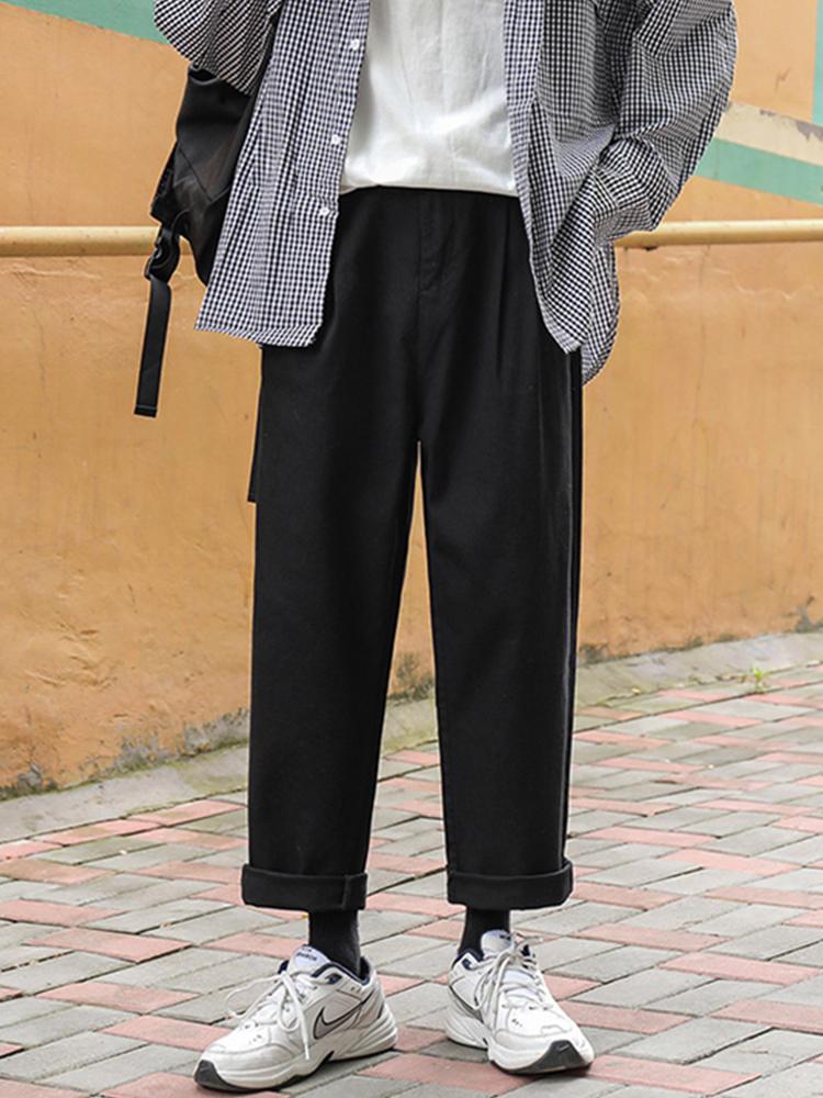 Harem Pants Trousers Joggers Wide-Leg Black Japan-Style Lappster Men Korean Fashions