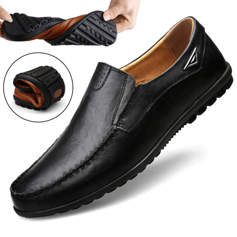 Mens Loafers Moccasins Driving-Shoes Casual-Shoes Slip On Black Breathable Genuine-Leather title=