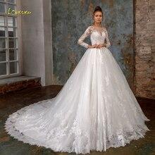 Элегантное loverxu кружевное свадебное платье принцессы с длинным рукавом Роскошное винтажное свадебное платье с аппликацией из бисера на пуговицах со шлейфом