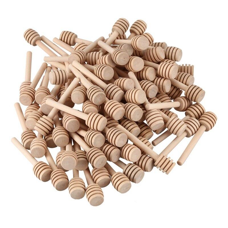 100 Pack Of Mini 3 Inch Wood Honey Dipper Sticks, Individually Wrapped, Server For Honey Jar Dispense Drizzle Honey, Wedding Par