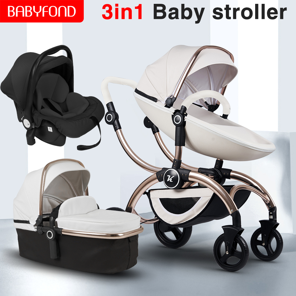 2020 New Style Baby Stroller 3 In 1 Baby Car Folding Baby Stroller Independent Baby Sleeping Basket And Car Seat