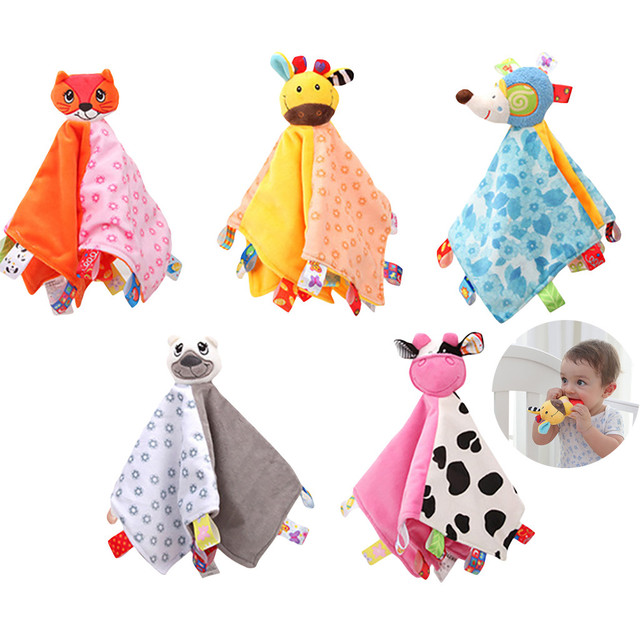 Cute Animal Stuffed Baby Toys 0 -12 Months Baby Comforter Soothing Towel Baby Rattle Toys Comfort Sleeping Plush Toys For Babies 1