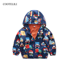 COOTELILI Cute Car Printing Boys Jacket Baby Autumn Children Outerwear Coat Hooded Clothing 90-130cm