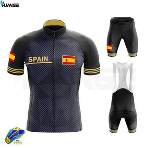 2020 New Black Spain Pro Bicycle Team Short Sleeve Maillot Ciclismo Men's Cycling Jersey Summer Breathable Cycling Clothing Sets