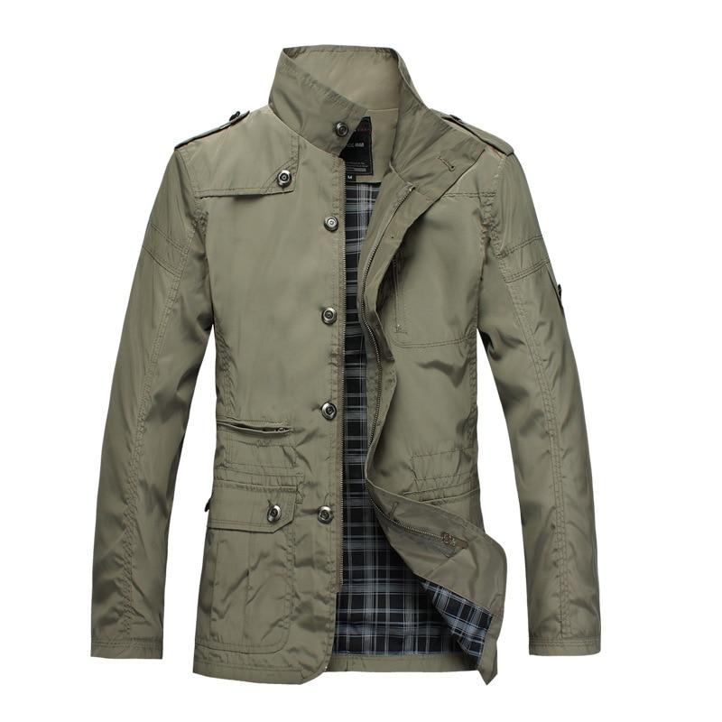 Men Autumn Polyester Large Size Jacket Male Army Military Windbreak Coat Casual Slim Outerwear Khaki Black Jackets XA297F