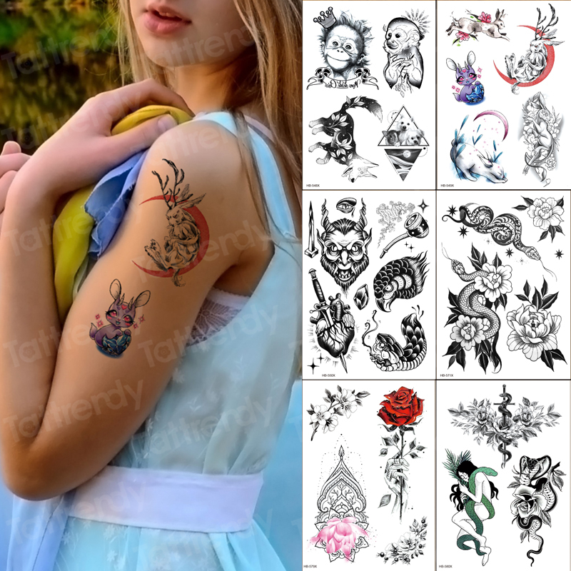 Sleeve Tatoo Kids Girls Waterproof Temporary Tattoo Stickers Animals Rose Monkey Moon Tattoo Pattern 6pcs/lot Wholesale Fake
