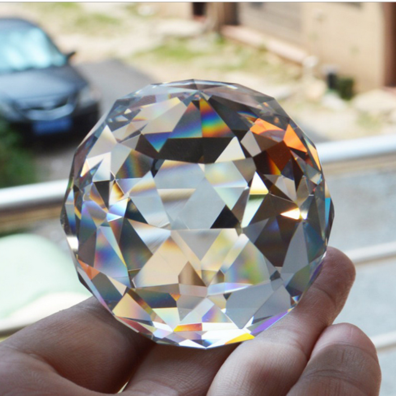 Clear Cut Crystal Sphere Faceted Gazing Ball Prisms Suncatcher Home Deco 30-80MM