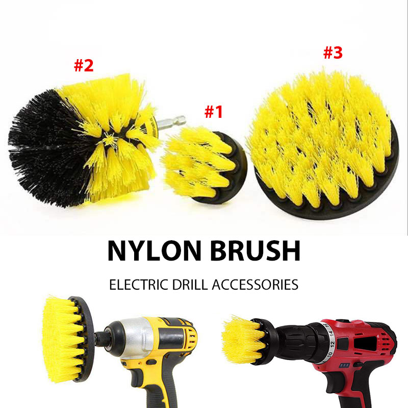 Nylon Drill Brush Kit Cleaning Brushes Set Yellow Obstinate Stain Power Scrubber Churn Drilling Durable
