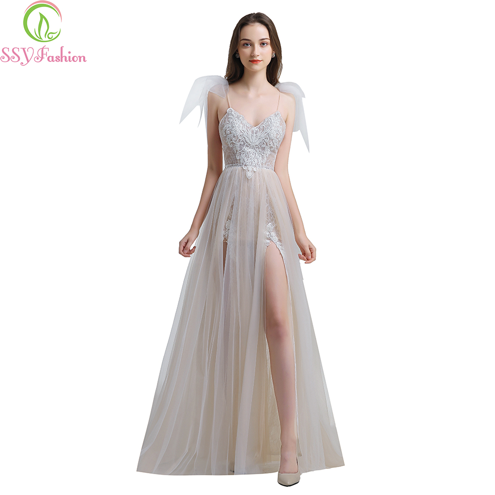 SSYFashion 2019 New Sexy Lace Evening Dress V-neck Sleeveless Sweep Train Backless Formal Prom Gowns Robe De Soiree Custom Made