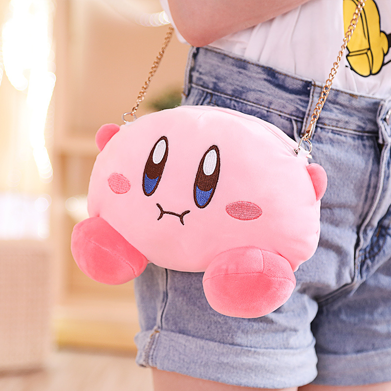 1pc Kawaii Kirby Star Plush Toy Messenger Bag Purse Kirby Plush Drawstring Pocket Plush Coin Bag Coin Purse Cartoon Plush Gift