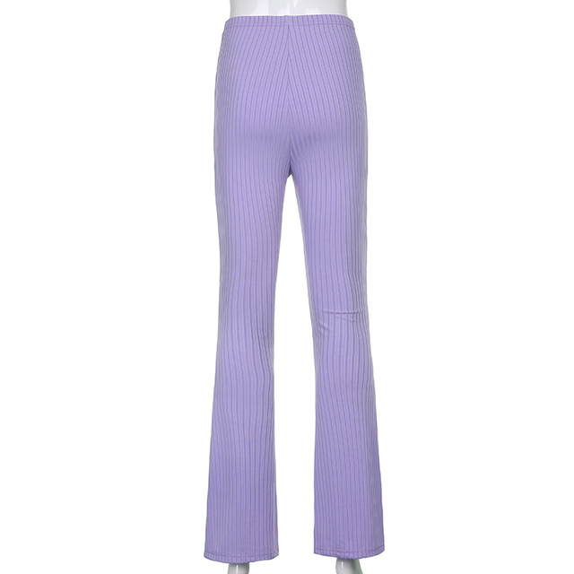 Sweetown Purple Ribbed Joggers Women Knitted Flare Pants Slim High Waist Aesthetic Trousers Female Vintage 90s Sweatpants 6