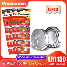 Кнопочная батарейка Panasonic LR1130 LR 1130 1,5 в, 40 шт., монета 189 AG10 V10GA L1131 SR1130W SR1130 389 LR54 SR54, Щелочная батарейка для часов