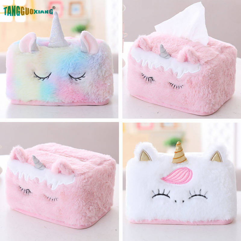 Creative Plush Unicorn Tissue Box Car Napkins Paper Box Kawaii Birthday Xmas Gift Kids Girl Favorite Home Decoration Tool