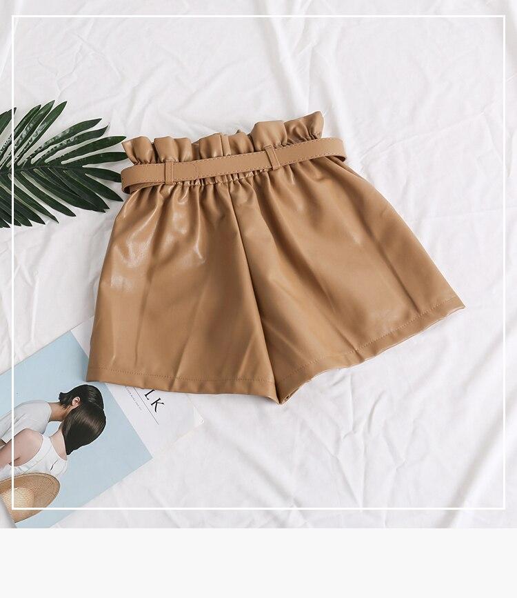 Black Khaki High Waist Loose Shorts 4