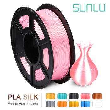 SUNLU PLA Filament pla silk sfect 1KG do drukarek 3D Filament 1 75MM 330M 2 2lbs jedwabna tekstura wkłady z materiału biodegradowalnego tanie i dobre opinie CN (pochodzenie) solid 343 metry PLA-SILK 100 no bubble 1 75mm 3 0mm RoHS Reach +-0 02mm 1 35KG 190-220 Degree C