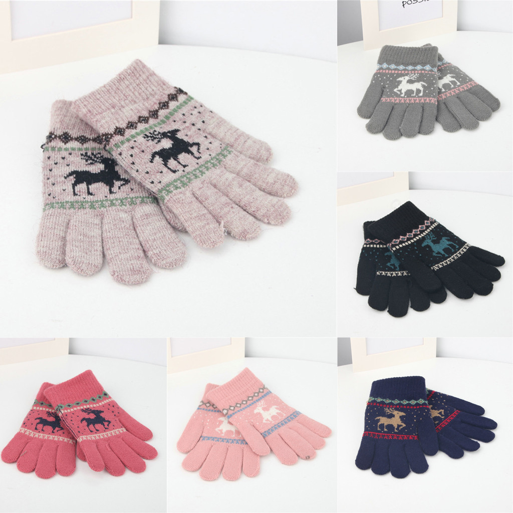 Children Cashmere Christmas Deer Acquard Weave Warm Gloves Thermal Fleece Clothing Touchscreen Gloves Winter #4