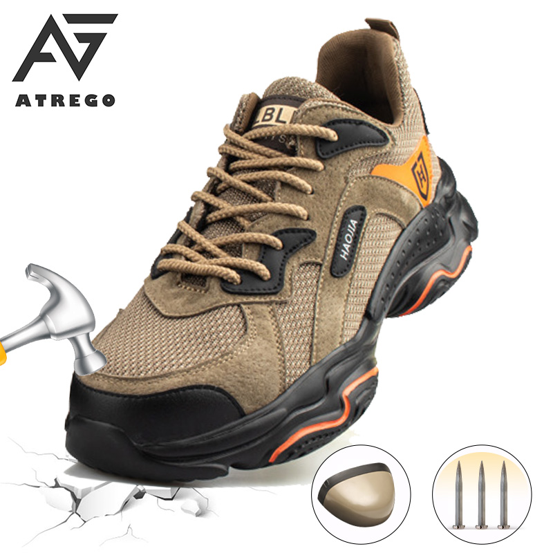 AtreGo Mens Leather Safety Shoes Steel Toe Cap Hiking Shoes Night Reflective Anti Puncture Lightweight Indestructible Work Boots|Work & Safety Boots|   - AliExpress