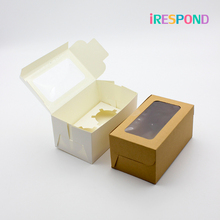 50PCS Brown Kraft Paper Box With Window Candy Cupcake Muffin Boxes Gift Wedding Cake Packaing White 2 Cup Holder