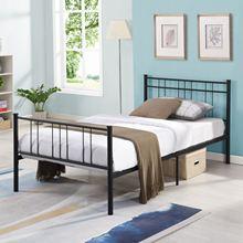 Siyah Metal tekli yatak çerçevesi, başlıklı, gürültüsüz ve kaymaz standart çelik yatak platformu, hiçbir kutu bahar, Modern