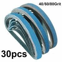 30pcs Sanding Belts 40 60 80 Grit Grinding Wooden Furniture Non Metals Surfaces Polisher Abrasive Tools