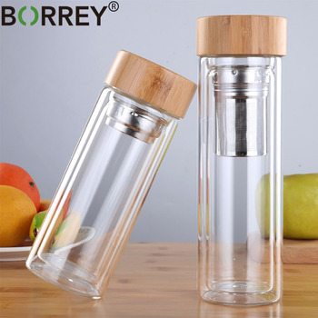 BORREY 450Ml Glass Water Bottle Anti-scald Double Wall Tea Bottle With Infuser Filter Strainer Office Clear Drinking Bottle office business glass water bottle portable double wall glass tea bottle with tea infuser creative transparent glass gift bottle