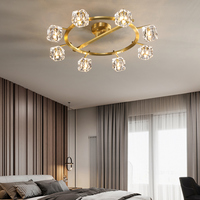Nordic Living room Copper LED Ceiling light Novel Bedroom Ceiling lighting Dining room luxury Crystal Villa Hall Ceiling lamp