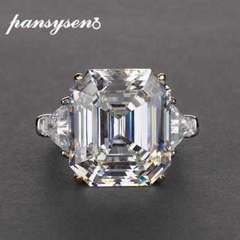 Anillos de Compromiso de boda de cuarzo citrino de diamante de laboratorio de lujo PANSYSEN para mujeres Plata de Ley 925 auténtica joyería fina tamaño 5-12