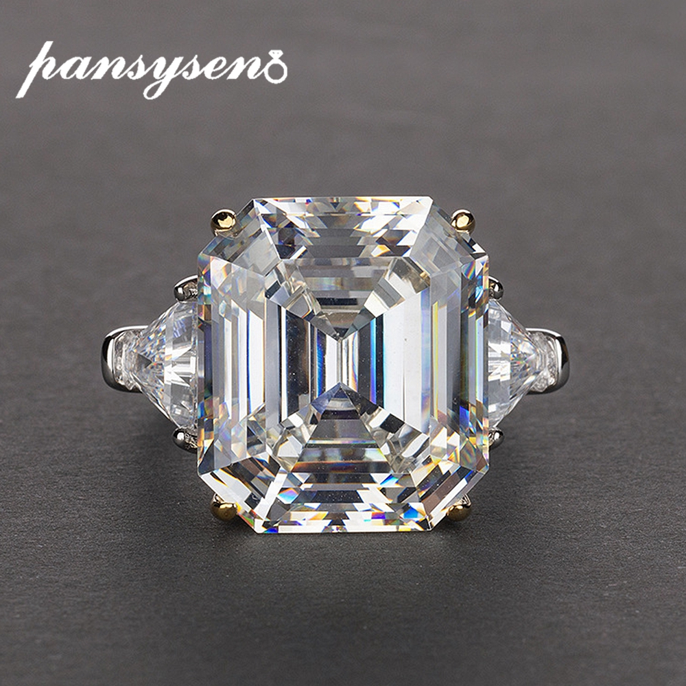 PANSYSEN Luxury lab diamond citrine Quartz Wedding Engagement Rings For Women Real 925 Sterling Silver Fine Jewelry Size 5-12