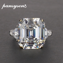 PANSYSEN Luxury simulate moissanite citrine big gemstone Rings For Women solid 925 Sterling Silver Fine Jewelry Ring Size 5 12