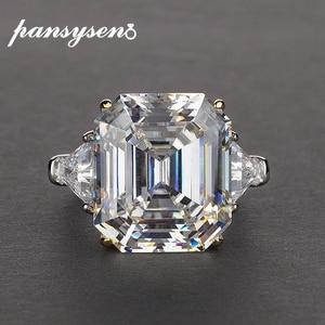 Image 1 - PANSYSEN יוקרה לדמות moissanite סיטרין גדול חן טבעות לנשים מוצק 925 כסף בסדר תכשיטי טבעת גודל 5 12